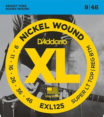 D'Addario EXL125 XL NICKEL WOUND Струны для электрогитары Super Light Top/Regular Bottom 9-46