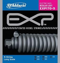 D'Addario EXP170-5 Coated Комплект струн для 5-струнной бас-гитары, Light, 45-130, Long Scale