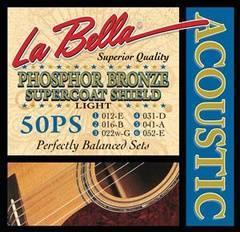 La Bella 50PS Phosphor Bronze Super Coat Комплект струн для акустической гитары 12-52 Light