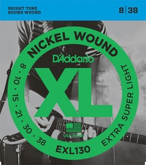 D'Addario EXL130 XL NICKEL WOUND Струны для электрогитары Extra Super Light 8-38