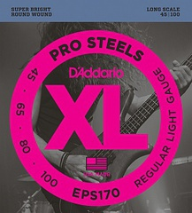 D'Addario EPS170 ProSteels Комплект струн для бас-гитары, Light, 45-100, Long Scale