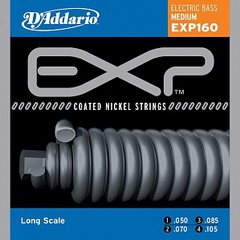 D'Addario EXP160 Coated Комплект струн для бас-гитары, Medium, 50-105