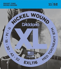 D'Addario EXL116 XL NICKEL WOUND Струны для электрогитары Meduim Top/Heavy Bottom 11-52