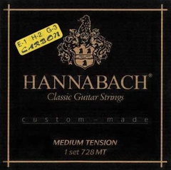 Hannabach 728MTC Custom Made Комплект струн для классической гитары, карбон/посеребренные, ср.натяж