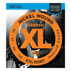 D'Addario EXL160BT Nickel Wound Комплект струн для бас-гитары, сбаланс. натяжение, Medium, 50-120