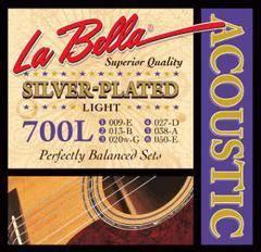 La Bella 700L Комплект посеребренных струн для акустической гитары 009-050 Light