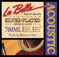 La Bella 700ML Комплект посеребренных струн для акустической гитары 011-052 Medium light
