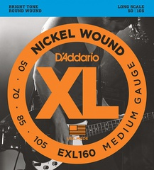 D'Addario EXL160 XL NICKEL WOUND Струны для бас-гитары Long Medium 50-105