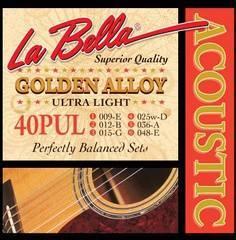 La Bella 40PUL Golden Alloy Комплект струн для акустической гитары 9-48 Ultra Light