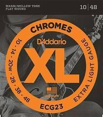 D'Addario ECG23 Chromes Flat Wound Комплект струн для электрогитары, Extra Light, 10-48
