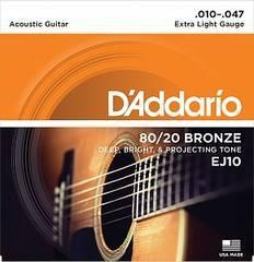 D'Addario EJ10 BRONZE 80/20 Струны для акустической гитары бронза Extra Light 10-47