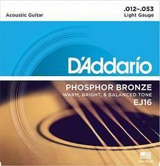 D'Addario EJ16 Phosphor Bronze Струны для акустической гитары фосфорная бронза Light 12-53