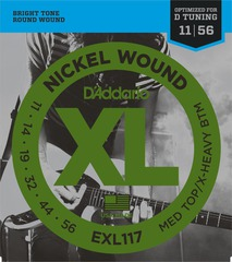 D'Addario EXL117 XL NICKEL WOUND Струны для электрогитары Meduim Top/Extra Heavy Bottom 11-56