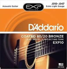 D'Addario EXP10 COATED 80/20 BRONZE Струны для акустической гитары Extra Light 10-47