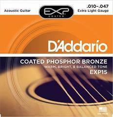 D'Addario EXP15 Coated Phosphor Bronze Струны для акустической гитары Extra Light 10-47