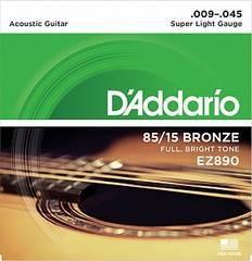 D'Addario EZ890 AMERICAN BRONZE 85/15 Струны для акустической гитары Super Light 9-45