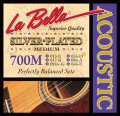 La Bella 700M Silver-Plated Комплект струн для акустической гитары, посеребренные 13-56 Medium