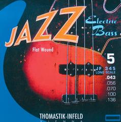 Thomastik JF345 Jazz Flat Wound Комплект струн для 5-струнной бас-гитары, никель, плоская оплетка, 43-136